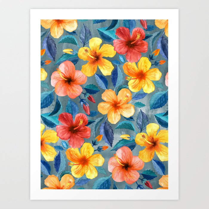 Colorful Watercolor Hibiscus on Grey Blue Kunstdrucke