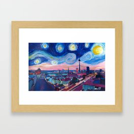 Starry Night in Berlin - Van Gogh Inspirations in Germany with Skyline Framed Art Print