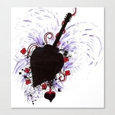 Bleeding Black Heart Guitar Canvas Print