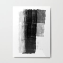Monolith - Black and White Minimalist Abstract Monotype Metal Print