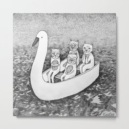 4 cats on a boat Metal Print