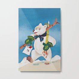 Ski Bear Metal Print