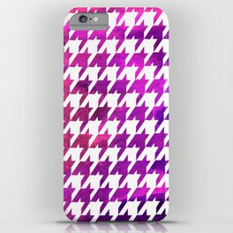 Houndstooth bright pink watercolor iPhone Case
