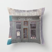 cafe Throw Pillows featuring Cafe by Patty Haberman