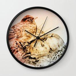 bird with apples Wall Clock