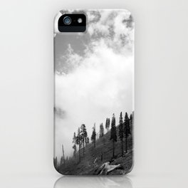 Mountains, Valleys and Forests. Yosemite National Park, Black and White Photography, Clouds and Fog iPhone Case