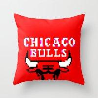 chicago bulls Throw Pillows featuring Bulls Bulls Bulls by Art by Ken