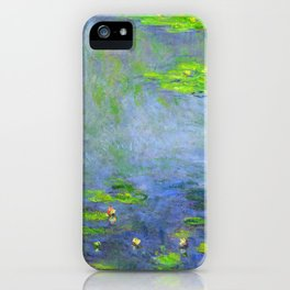 Water Lillies - Claude Monet (ufo green) iPhone Case