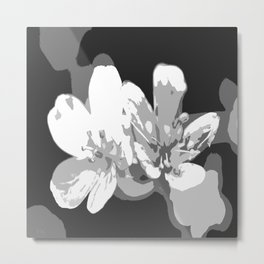 Retro Flowers in Black and White #decor #society6 Metal Print