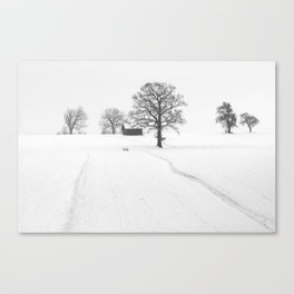 Snow Farm (Black and White) Canvas Print