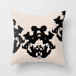 Black Rorschach inkblot Throw Pillow