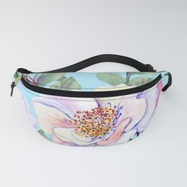 Chic, Elegance Floral Print on Pastel Blue Background Fanny Pack