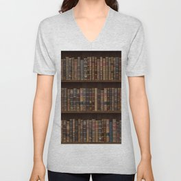 Old Victorian Library Beautiful Book Spines Bookcase Bookshelf Vintage Antique Books Unisex V-Neck