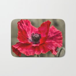 Red Poppy with Bee Bath Mat