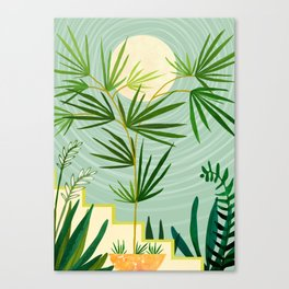 Summer Moon / Tropical Garden Illustration Canvas Print