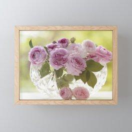 Wonderful English Roses in a crystal bowl - Rose - Flowers Framed Mini Art Print