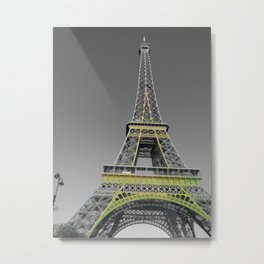 Paris Eiffel tower black and white with color GOLD Metal Print