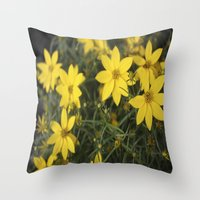 rileigh smirl Throw Pillows featuring Yellow Flowers by Rileigh Smirl