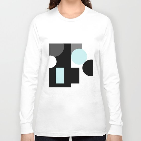 An abstract geometric pattern . Geometric shapes . Black sky blue white pattern . Long Sleeve T-shirt