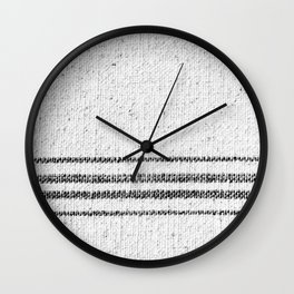 Farmhouse Grain Sack Black Stripes Wall Clock