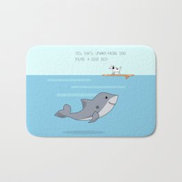 Shark practicing yoga pose Bath Mat