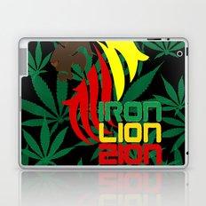 Reggae, Rastafarian - Iron, Lion, Zion, ganja, weed, pot, smoke background, legalize maryjane, music Laptop & iPad Skin