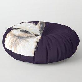 Sneaky Llama in Black Floor Pillow
