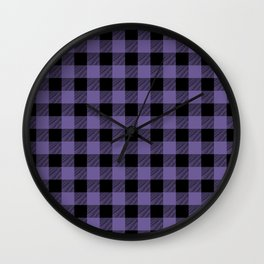 Ultra Violet Buffalo Plaid Wall Clock
