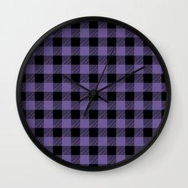 Purple Buffalo Plaid Wall Clock