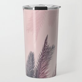 Pretty in Pink Tropical Palm Leaves Travel Mug