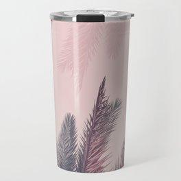 Pretty in Pink Tropical Palm Leaves Travel Mug