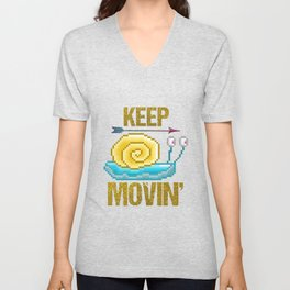Keep moving, pixel snail Unisex V-Neck