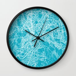 Rome Italy Map | Blue & Cyan | More Colors, Review My Collections Wall Clock