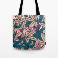 Tropical hand drawn pattern with leaves Tote Bag