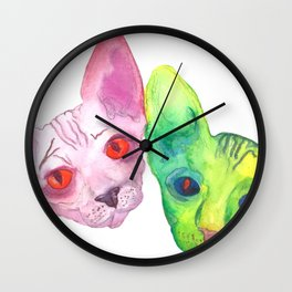 Colored Cats Wall Clock