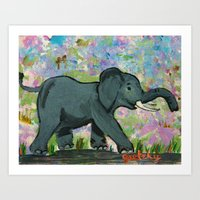 baby elephant Art Prints featuring Baby Elephant by gretzky