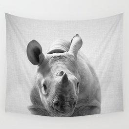 Baby Rhino - Black & White Wall Tapestry