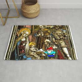 Will the Wandering Gnome Shares a White Hat with Jesus (Gnome Art) (Christmas Art) Rug