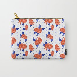 Florida fan gators university orange and blue team spirit football college sports florals dots Carry-All Pouch