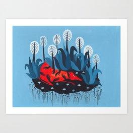 Smug red horse 3. Art Print