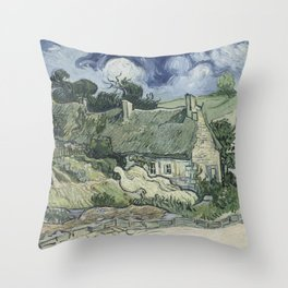 Vincent van Gogh - Thatched Cottages at Cordeville Throw Pillow