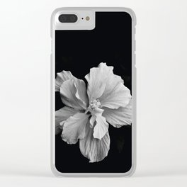 Hibiscus Drama Study - Black & White High Impact Photography Clear iPhone Case