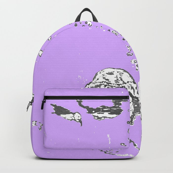 Two Tailed Duck and Jellyfish Purple Grape Backpack