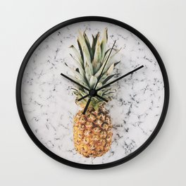 Pineapple Marble Background Wall Clock