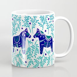Swedish Dala Horses – Navy & Blue Palette Coffee Mug