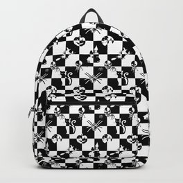 Black and White Vintage Halloween Disco Check Backpack