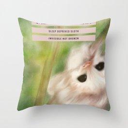 Funny Baby Sloth Reminds Fibromyalgia People to Take it Easy Throw Pillow