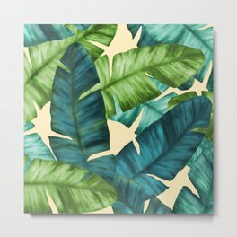 Tropical Banana Leaves Original Pattern Metal Print