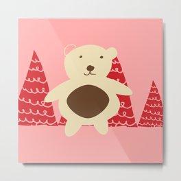 Christmas polar bear pink Metal Print