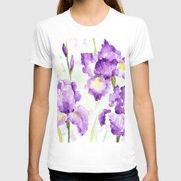 Watercolor Blue Iris Flowers T-shirt